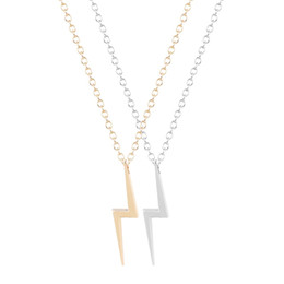 Wholesale Storm Necklace - 10PCS- N038 Cute Lighting Bolt Necklaces Harry Lighting Necklace Simple Storm Thunder Bolt Necklaces for Women Party Gift