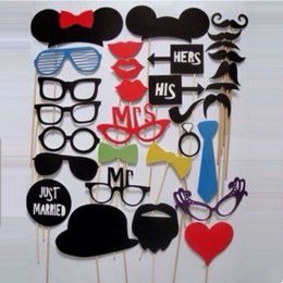 Wholesale Wedding Photobooth Props - Photo Booth 31PCS lot Wedding Party Decorations PhotoBooth Props Hat Mustache On AStick Wedding Favor Birthday Party Mask Decoration