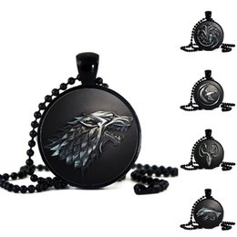 Wholesale Time Beads Charms - Game of Thrones Time Diamond Necklace Black Beads Pendant Necklace Male Wolf Necklace