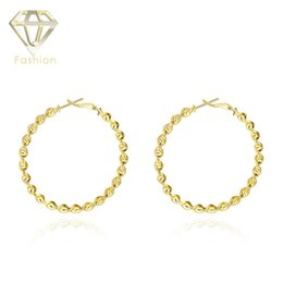 Wholesale Twisted Gold Plated Hoop Earrings - Plated Gold Hoop Earrings High Quality Exaggeration Big Round Shape Classic Twisted Earrings Trendcy Fashion Jewelry for Women