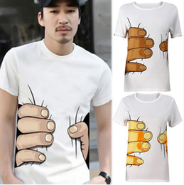 Wholesale Cheap Top Brand T Shirts - 2016 Summer Brand New Men 3D Big Hand Short Sleeve Cotton T Shirt Breathable O Neck Fashion Tops Tee Funny Tshirt homme Cheap