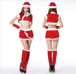 Wholesale Legging Skirt Sets - Christmas 2016 fashion clothing role-playing clothing Christmas coat + short skirt + cap + legs set of 2 + 2 gloves