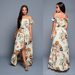Wholesale Multi Color Chiffon Maxi Dress - Dear lovers Summer Women Off Shoulder Maxi Dress 2017 Beige Multi-color Floral Slit Romper Beach Long Dress Robe Longue free free shipping