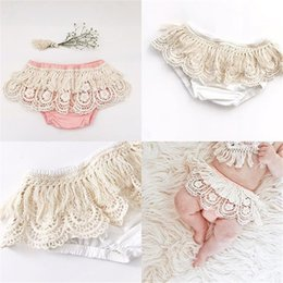 Wholesale Cute Baby Girl Chinese - INS Baby Girl Infant Toddler Lace Shorts Pants Tassels Bloomers Diaper Covers Cute Tutu Skirt Hollow Ruffle kids clothes clothing