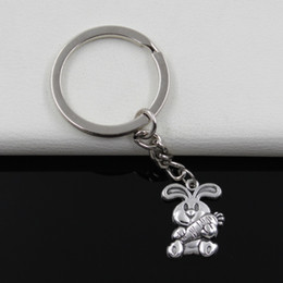 Wholesale Heart Keychain Ring - Fashion diameter 30mm Key Ring Metal Key Chain Keychain Jewelry Antique Silver Plated rabbit bunny carrot easter 21*15mm Pendant