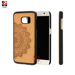 Wholesale Case Cherry Wood - Laser Engraved Luxury Wooden For Samsung Galaxy s7 edge s7Edge Original Phone PC Back Case Protector Cover Cherry Wood Factory Manufacturer