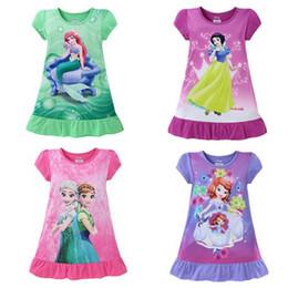 Wholesale Short Blue Skirt Cartoon - Summer Girls Dress Kid Clothes Leisure Wear Children Short Sleeve Mermaid Snow White Frozen Princess Night Skirt Cartoon Pink Green Purple