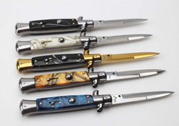 Wholesale Italy Models - Hiking Knife Italy AKC 9 INCH Acrylic Handle 5 Models Single Action Pocket Knife Collection Knife Survival Knives Xmas Gift F565L