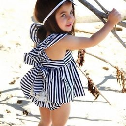 Wholesale Navy Stripes Dresses Baby - Wholesale- Girls Dress Summer 2017 Brand England Navy Blue Dress Sleeveless Baby Girl Clothes Stripe Backless Girls Dresses for Party 0-24M