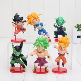 Wholesale Kid Vegeta - 6pcs set Dragon Ball Son Gokou Vegeta Cell Broli Super Saiyan PVC Action Figure Doll Resin Collection Model Toy kids toys