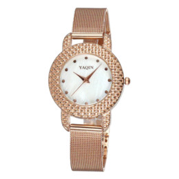 Wholesale Yaqin Quartz - Fashion Women Dress Watches Rose Gold Stainless Steel Mesh Band Relojes Mujer Yaqin Brand Ladies Wristwatches Clock VBM77 T51