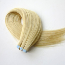 Wholesale hair extension tape blonde - 50g 20pcs Tape In Human Hair Extensions 18 20 22 24inch #613 Beach Blonde color Adhesive Skin Wefts PU Tape Hair