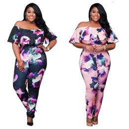 Wholesale Large Tights Pants - Large Size 3XL Women's The Explosive Sexy Tight Printing Flowers Dew Shoulder Conjoined Pants