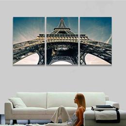 pannelli a torre eiffel Sconti 3 Panel Set Canvas Art Prints Torre Eiffel Cityscape Pittura moderna parete immagine per la decorazione domestica Soggiorno camera da letto