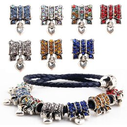 Wholesale Bow Charm Pandora - Wholesale Metal Alloy Butterfly Bow Beads Crystal Rhinestone Charms for Pandora Bracelet Best Gift