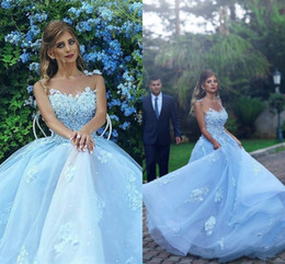 Wholesale evening dresses baby pink - Baby Blue Sheer Neck Prom Dresses Sexy Lace Appliques A Line Jewel Celebrity Evening Dress Vestidos Tulle Zipper Back Bridal Gowns