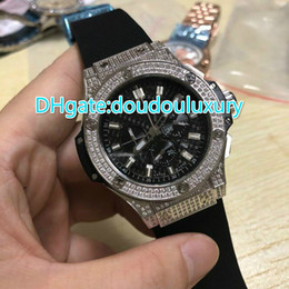 Wholesale Auto Battery Suppliers - top supplier AAA luxury brand watches black rubbber belts full diamonds case watch quartz os chronograph sports watch man's dress watches
