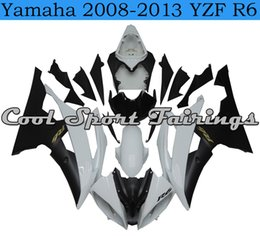 Wholesale Motorcycle Plastic Yamaha R6 - Classic Black White Fairing Kit Fit for Yamaha 2008-2013 YZF R6 Motorcycle Plastic Bodywork Fit for Yamaha 2008 2009 2010 2011 Bodywork