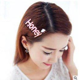Wholesale Honey Hair Accessories - Hair Clips Women Girl Korea Style Honey Baby Funny Letters Hair Clip Charm Glitter Baby Girls Sequins Barrettes Sweet Hair Accessories 249
