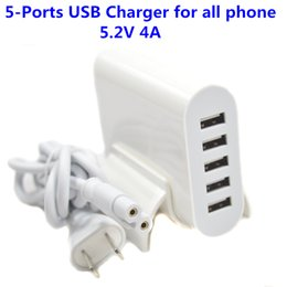 Wholesale Usb 5v 4a - EU US Plug white 20W 5V 4A 5 Ports USB Charger Travel Adapter Fast Charging For iPhone for samsung for LG all Smart Phone