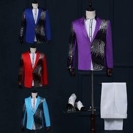 Wholesale Host M - Wholesale-free shipping gold blazer for men 2016stage men suit suit jacket Sequin gradient lightning show host nightclub bar singer jacket