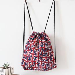 Wholesale Ladies Sport Backpack - 2016 Fashion Manual Vintage Canvas Bag Shoulders Draw String Bag Shopping Bag For Lady Thick Linen Pocket Storage Outdoor Rope Backpacks