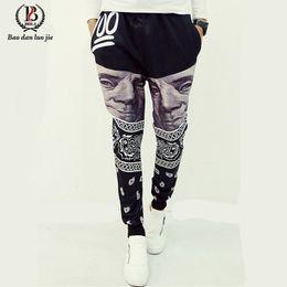 Wholesale Hot Cool Wear - Wholesale-Outdoor Trousers 2016 Hot Sale Mens Letter Printing Baggy Harem Cool Long Pants Jogger Sport wear 7 Style Plus Size L-XXL