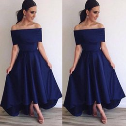 Wholesale Simple Prom Dresses Capped Sleeves - 2016 Royal Blue Off Shoulder Bridesmaid Dresses A Line Backless Hi Lo Style Simple Prom Dresses Formal Evening Party Gowns BA3692