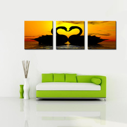 Wholesale Oil Paintings Swans Canvas - 3 Panel Romantic Swan Lover Canvas Printing,wedding Decor Poster,triptych Animal Canvas Print Art gallery Wrapped Artwork for Living Room