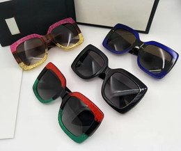 Wholesale Big Designs - Brand Sunglasses Women 0083S Shiny Crystal Design Square Fashion Big Frame Sunglasses Lady Sun Glasses UV400 Lens with Original Case