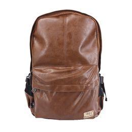 Мужчины Женщины искусственная кожа Винтаж рюкзак мода досуг мужской школы Спорт черный день коричневая рюкзак #3527 от