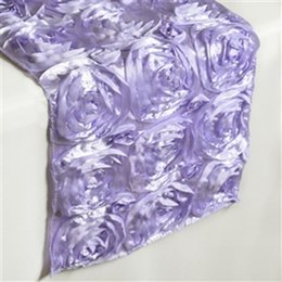 Wholesale Purple Table Runners Wholesale - 10pcs 3D Rose GreenTable Runner Wedding Party Table Decoration Purple Christmas Banquet Table Runners 30x275cm