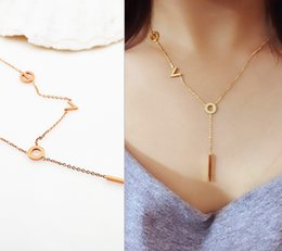 Wholesale America Gift - Hot sale Top Quality Europe and America 316L Titanium steel fashion Rose Gold I LOVE U Pendant Necklaces for women gift for birthday party