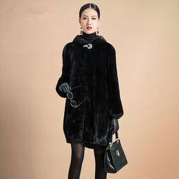 Wholesale Dog Collar Women - Fur Coat Female Outerwear Top Raccon Dog Fur Jacket With Fur Collar Long Design Women 2016 Winter Overcoat Thick Warm Size S-6XL