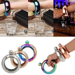 Wholesale Gold Alcohol - 3.5oz Bangle Bracelet Stainless Steel Jug Bracelet Liquid Alcohol Hip Flasks Funnel Bangle Bracelet Gold Silver Rainbow