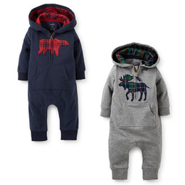 Wholesale halloween toddler outfits - INS Autumn Christmas Winter Baby Long Sleeve Hooded Rompers one-pieces Animal jumpsuit Printed Toddler infant Cotton Clothes Outfits