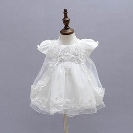 Wholesale Embroidered Short White Dress - Retail New Baby Girl Baptism Christening Easter Gown Dress Embroidery Shwal Cap Formal Toddler Party Dresses 3PCS Set 1775