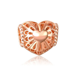 Wholesale Gold Big Hole Spacer Beads - Rose Gold Charm Beads fit Snake Chain Bracelets Jewelry hollow heart beads Big Hole European Spacer Bead Fit Pandora Chamilia Biagi charm