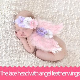 Wholesale Pink Feather Wings - Handmade lace headbands and angel feather wings