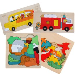 Wholesale Transport Toys For Children - Wood Puzzle Animal Transport Multi-imensional 3D Jigsaw multilayer cartoon puzzle Educational Montessori Toy for Child