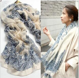 Wholesale Long White Silk Chiffon Scarves - New Vintage Silk Scarves Blue and White Porcelain Long Scarf chiffon Shawls Sexy printed Women's Christmas gifts multicolor 10pcs lot