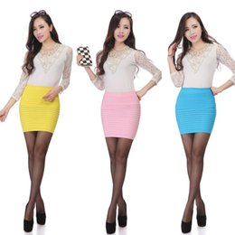 Wholesale Green High Waist Pencil Skirt - Candy Color pencil skirt Autumn high waist slim mini women skirt Casual Summer bodycon short skirts