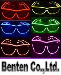 Wholesale El Neon - Simple el glasses El Wire Fashion Neon LED Light Glow Sun Glasses Rave Costume Party DJ Bright SunGlasses LLFA