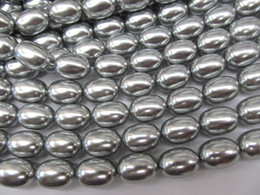 Wholesale Silver Nugget Beads - grey pearl egg side nuggets drop Pearl Gergous 8x10-15x20mm full strand freeform ivory white grey silver looose bead