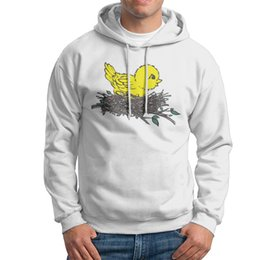Wholesale Fluorescent Pullovers - Yellow fluorescent bird Man street Sweatshirt Mens Streetwear Hoodie Black long sleeves cotton liner sports shirt for men.