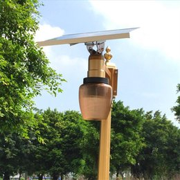 Wholesale Outdoor Solar Light Sets - Newest Golden Color Remote Control Time Setting 10W Solar Panel Powered LED Street Light Outdoor Garden Park Countyard Wall Lamp apple shade