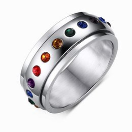Wholesale Hot Transport - Mixed Men's Jewelry Rainbow Transport Ring titanium Stainless Steel rotatable Design hot sellMixed Men's Jewelry Rainbow diamond