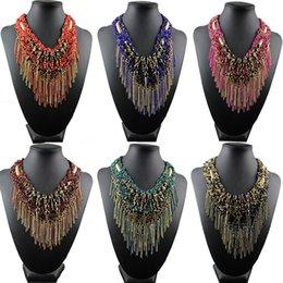 grandi perle diamanti Sconti La collana corta europea e americana grande esagerato femminile stile folk ciondolo diamante lega multi nappa perline fatti a mano accessori