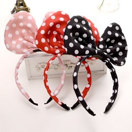 Wholesale Korean Large Hair Bands - Korean Style Children Hair Bow Large Dot Fabric Hair Bands Mickey Perspective Girls headband For Birthday Party Celebration Event 3605