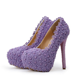 Wholesale Yellow Bridesmaid Shoes Wedding - Purple Lace Flower Wedding Shoes Handmade Pearl Beading Bridal High Heels Shoes Beautiful Bridesmaid Pumps Women Dress Shoes